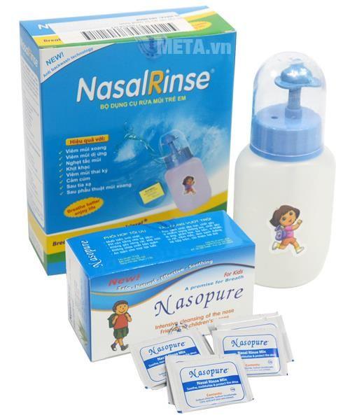 Bình rửa mũi trẻ em Nasalrinse kèm muối.1